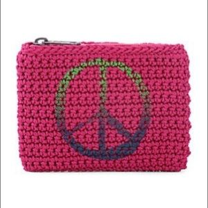 NWOT The Sak Peace sign crochet coin purse